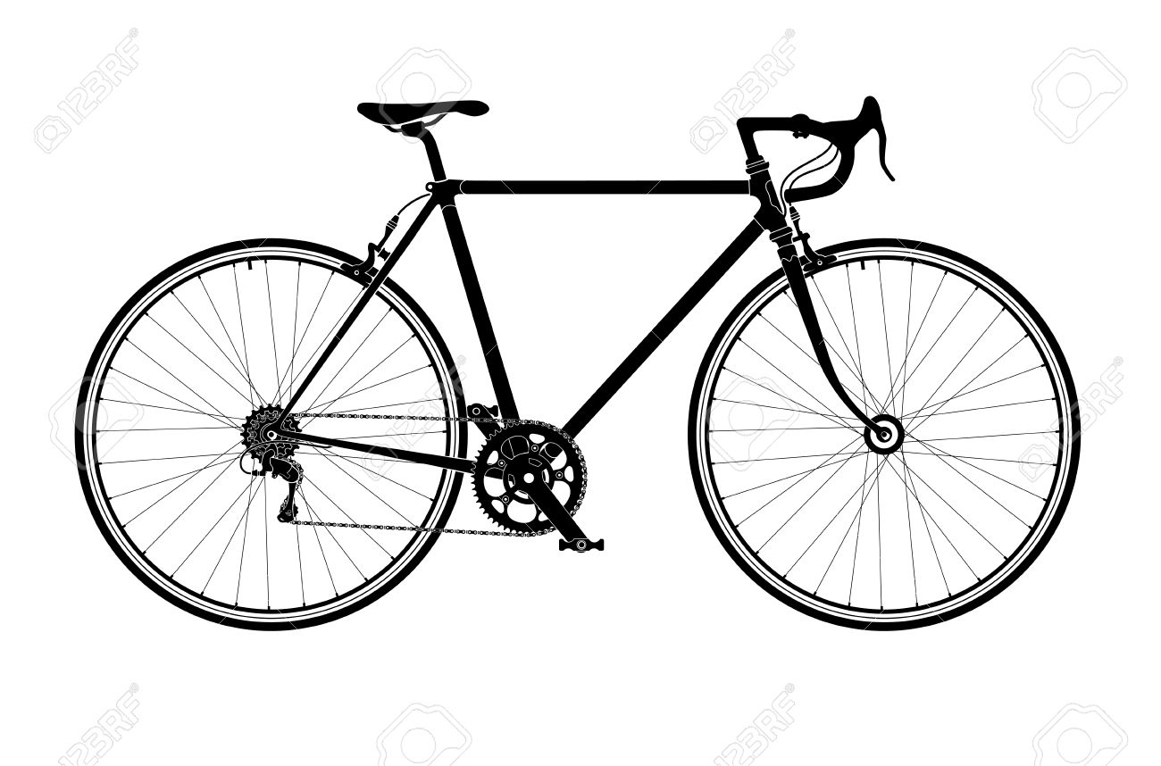 Classic Mens Town, Road Bike Silhouette, Detailed Vector.