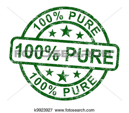 Stock Illustration of 100% Pure Stamp Shows Natural Genuine.