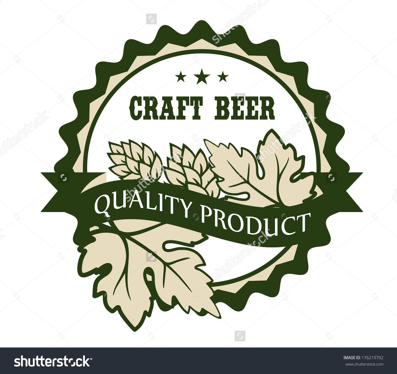 Circular Craft Beer Design Label Hops Stock Vector 176219792.