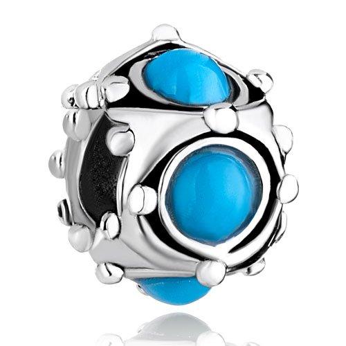 Pugster Blue Turquoise Charm Beads Fit Pandora Charm Bracelet.