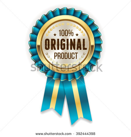 Gold Awesome Quality Badge Rosette Blue Stock Vector 410069482.