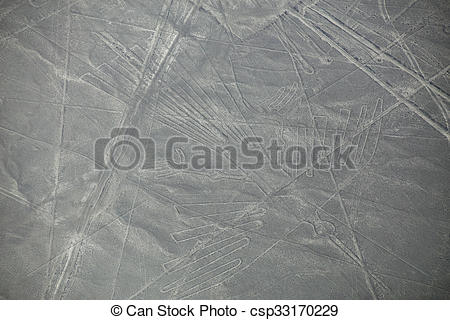 Stock Photo of Aerial view of Nazca Lines geoglyphs in Peru. The.