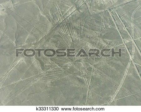 Stock Photography of Aerial view of Nazca Lines geoglyphs in Peru.