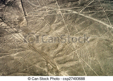 Pictures of Geoglyphs and lines in the Nazca desert. Peru.