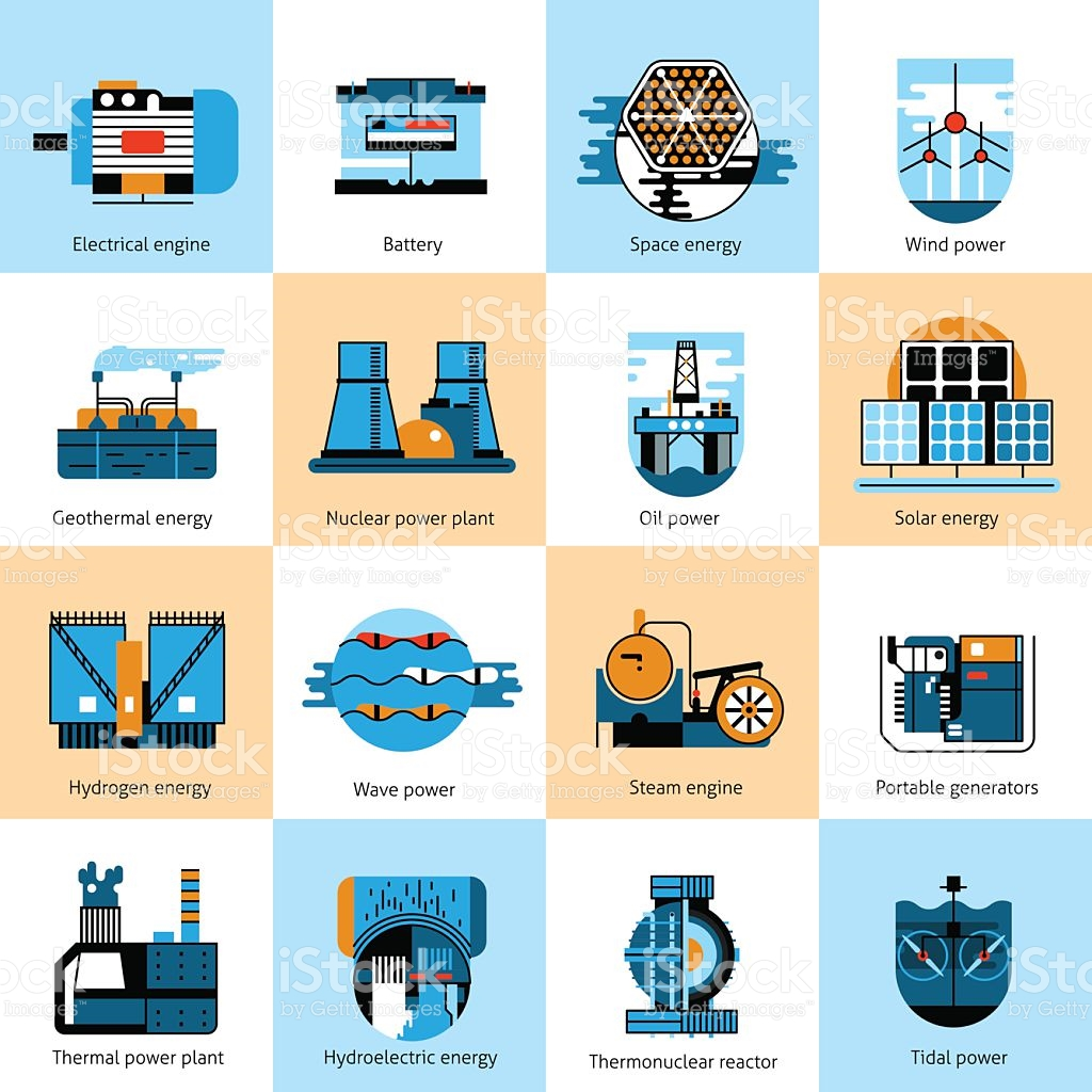 Energy Production Flat Line Icons Set stock vector art 502487380.