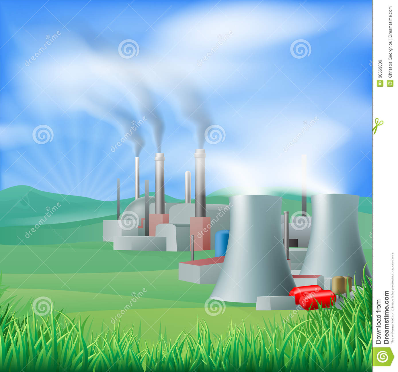 Chimneys Of A Geothermal Power Plant Royalty Free Stock.