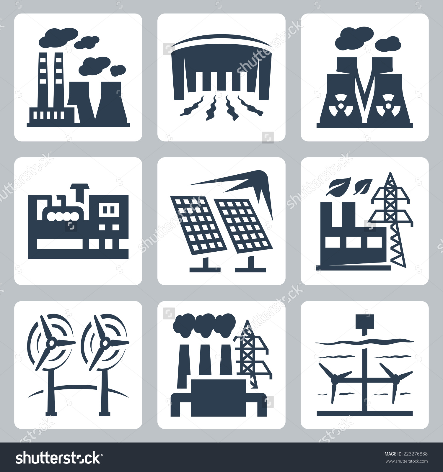 Power Plants Vector Icons Set Thermal Stock Vector 223276888.