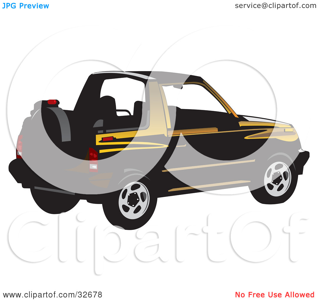 Clipart Illustration of a Black And Yellow Convertible Geo Tracker.
