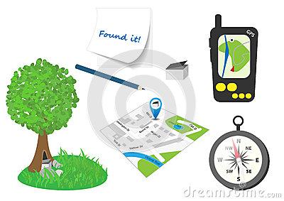 Geocaching Stock Illustrations.