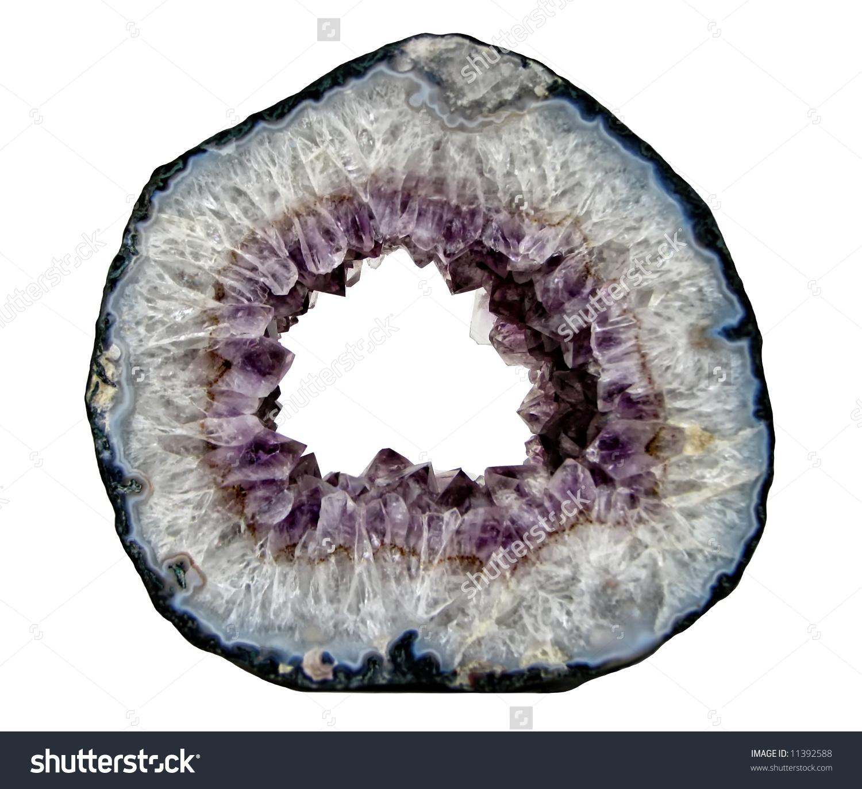 Beautiful Amethyst Crystal Geode Rock Isolated Stock Photo.