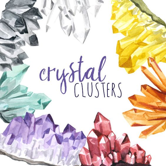 Crystal Clusters, Clip art Gemstones, Crystal Clipart.