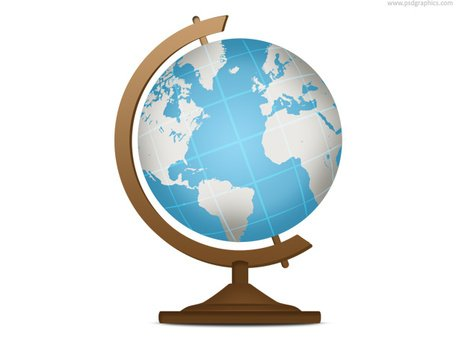 Školní glóbus, geografie ikony (PSD).