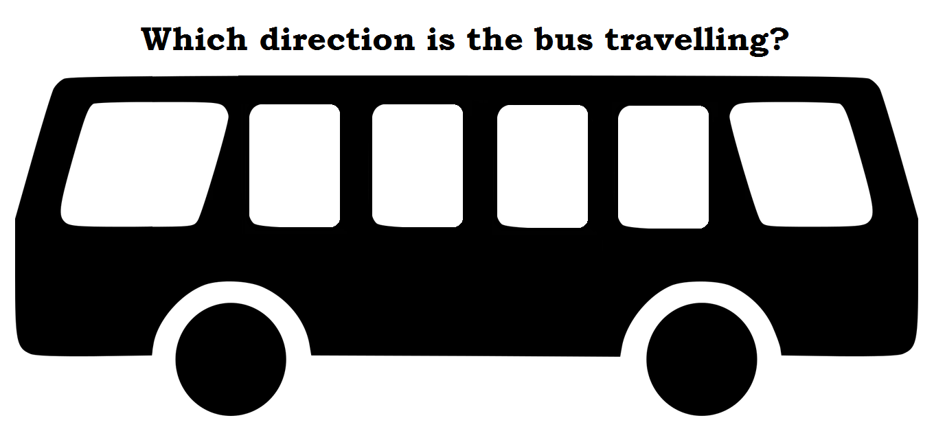 Which direction is the bus travelling?: The National Geographic riddle.