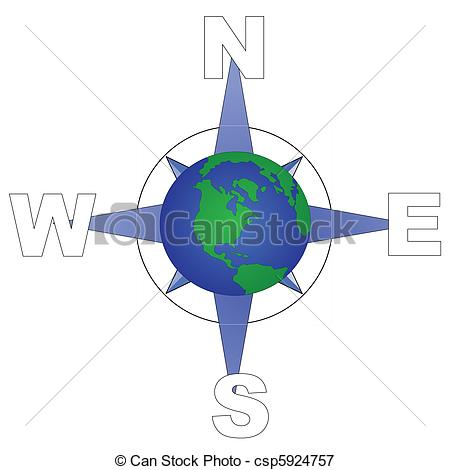 Vectors Illustration of globe directions.