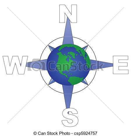 Vectors Illustration of globe directions.
