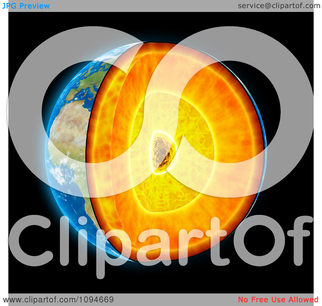 Clipart 3d Earth Shown With Visible Geological Layers.