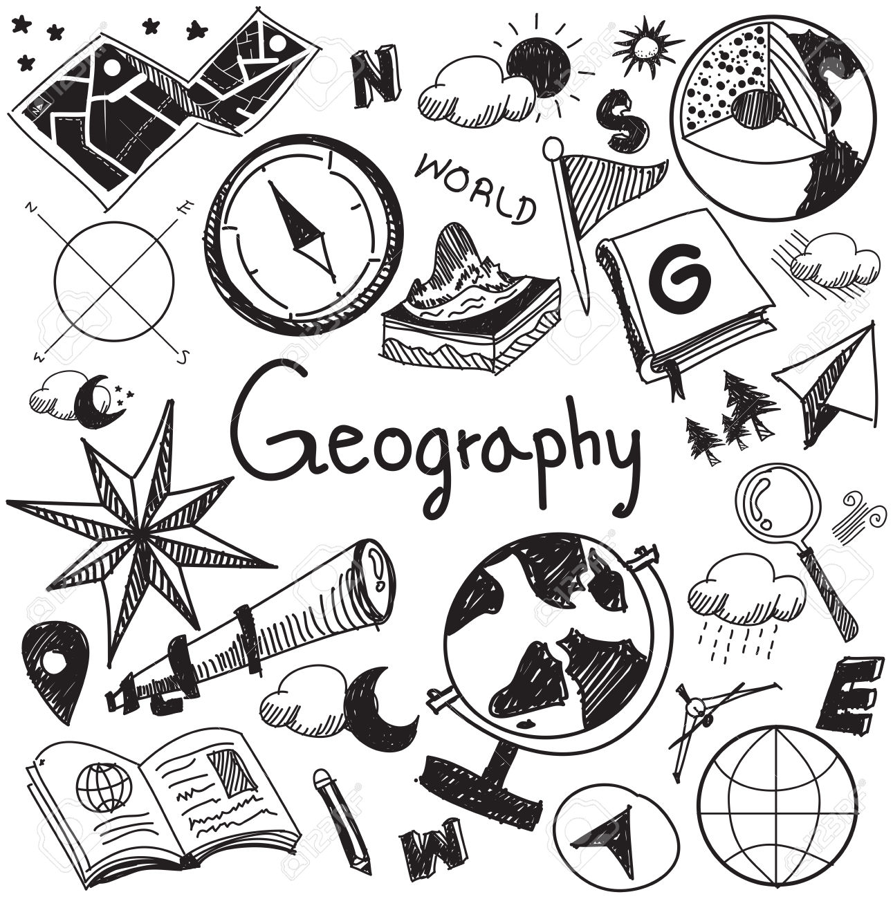 Geography And Geology Education Subject Handwriting Doodle Icon.