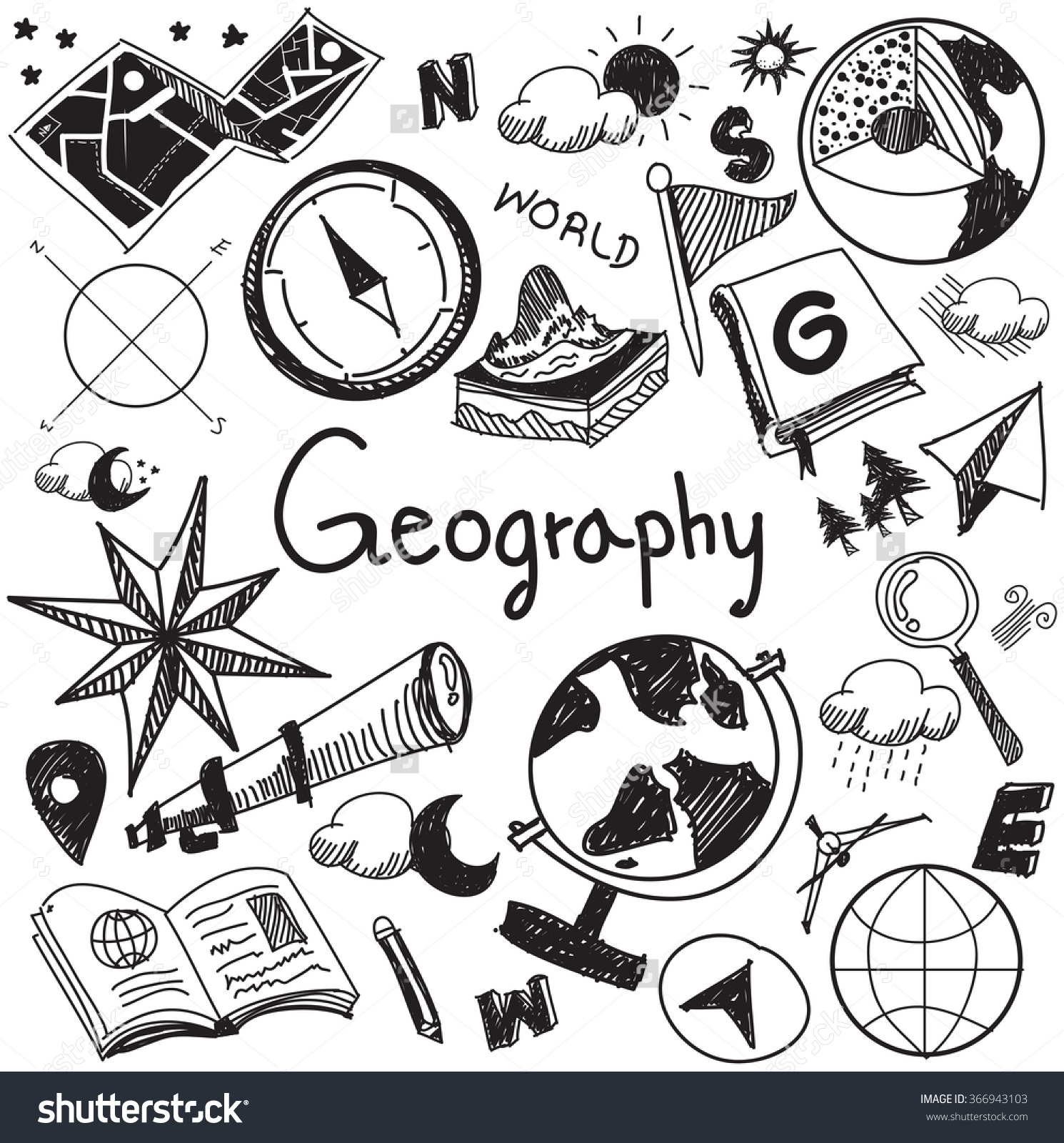 Geography Geology Education Subject Handwriting Doodle Stock.