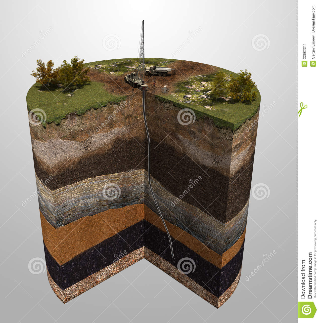 Geological Exploration Of Oil And Gas Production Stock Image.