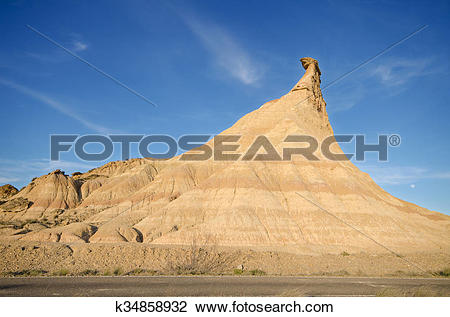 Stock Photo of Geological formations in las Bardenas Reales desert.