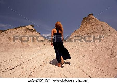 Picture of Woman at the geological formation near the village of.