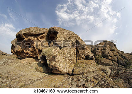 Stock Photograph of Rock erosion. Weathered. Geological formations.