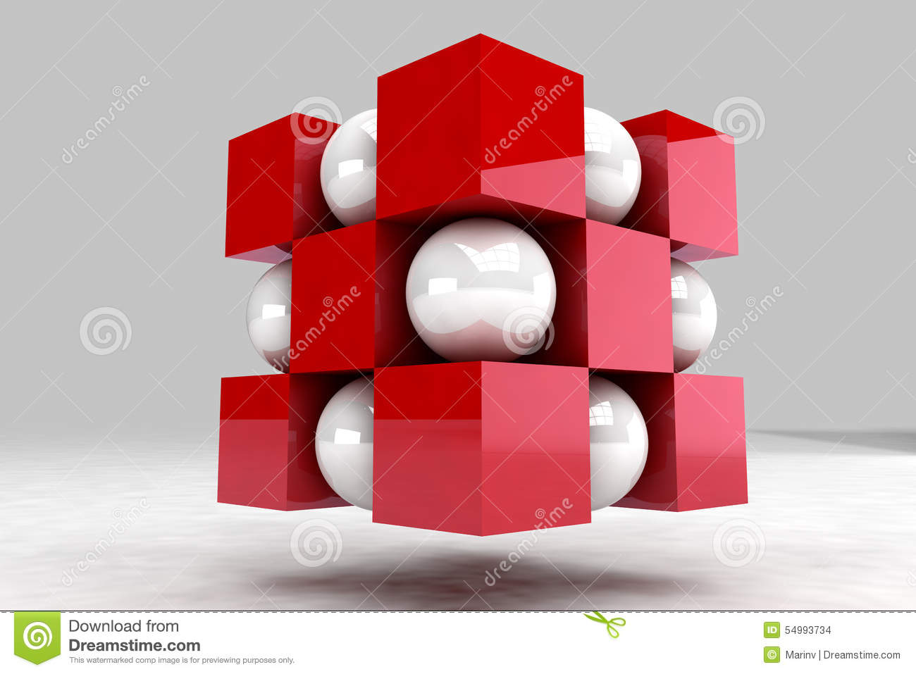 Geometric Body Made Of White Balls And Red Cubes Stock.