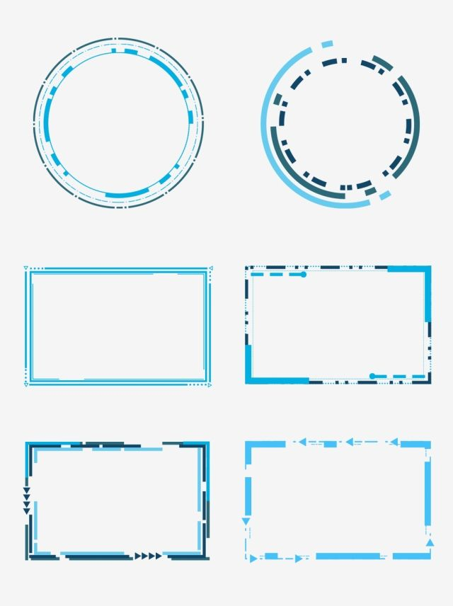 Tech Border Blue Geometric Box Round Frame Dialog Commercial.