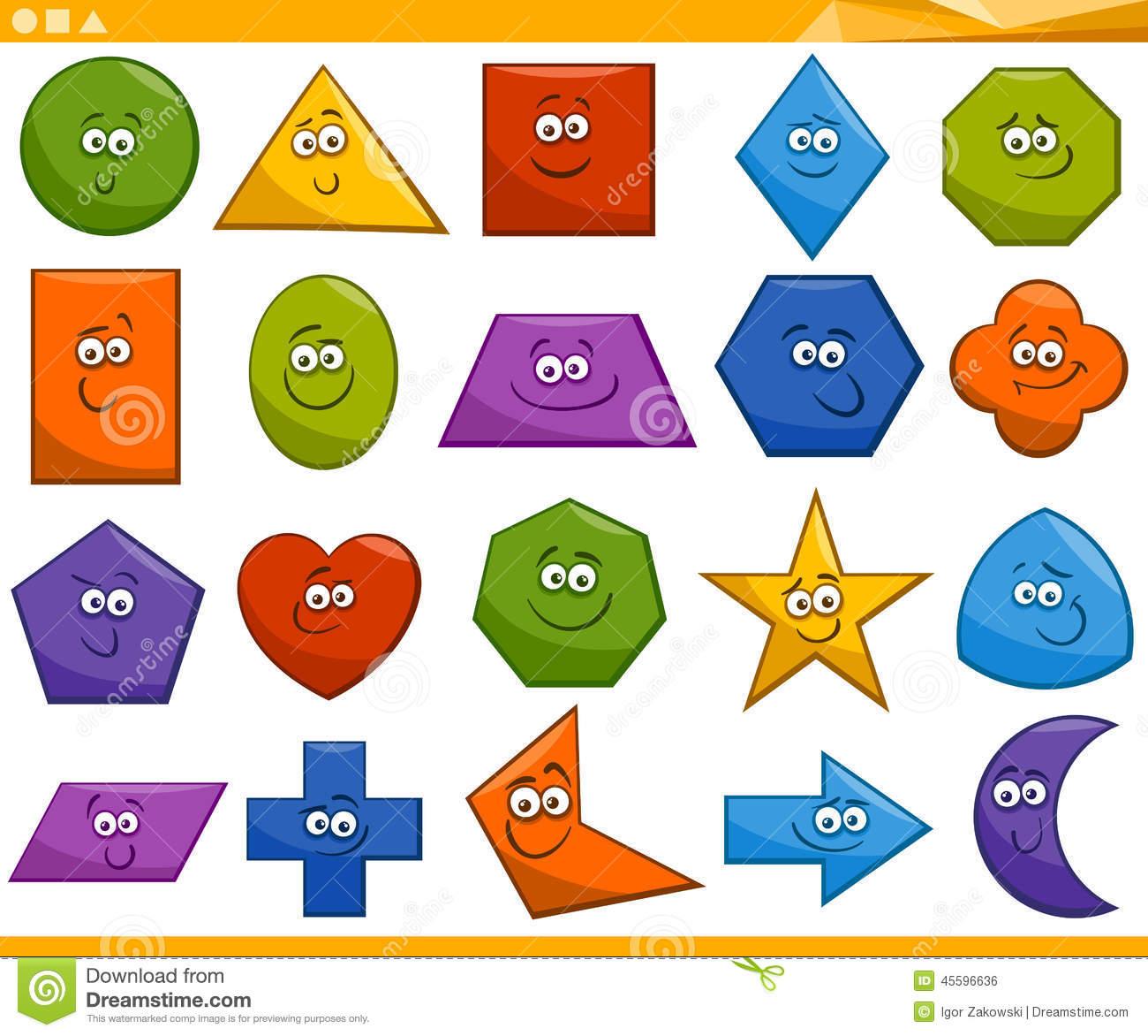 Basic Geometric Shapes With Cartoon Animals Stock Photo.