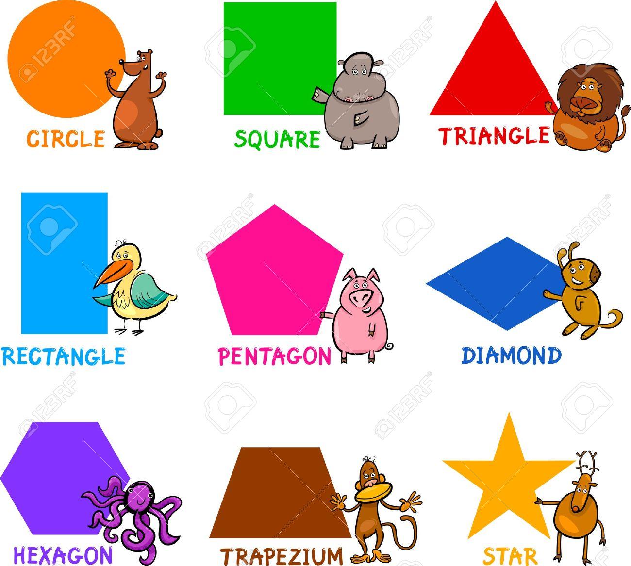 Cartoon Illustration Of Basic Geometric Shapes With Captions.