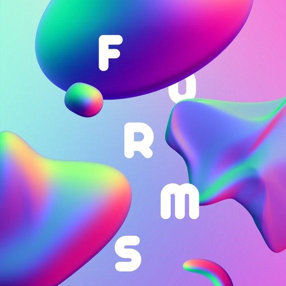 40 Holographic Forms Clipart, Trendy Gradient Set, Memphis.