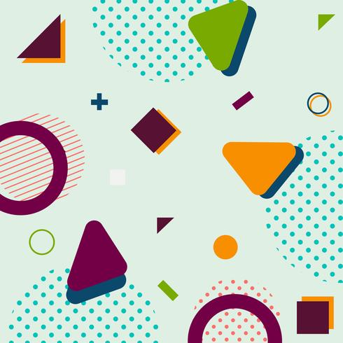 Modern trendy geometric shapes memphis hipster background.