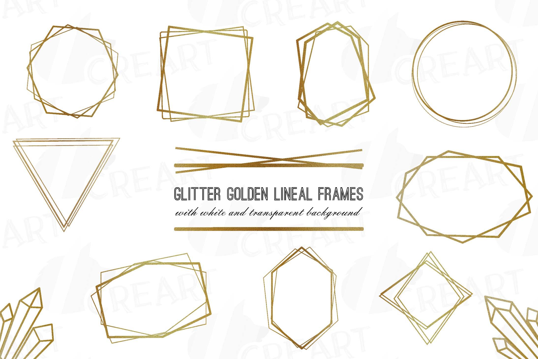 Glitter golden elegant wedding geometric frames png.