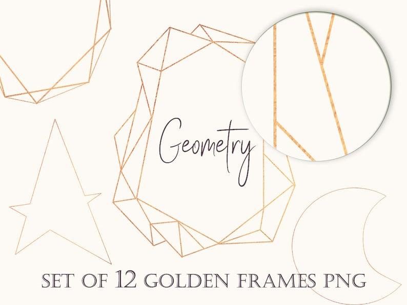 Set of 12 Golden Frame Clipart Geometric Frame PNG Clipart Geometric Frame  Clipart Frames Clip Art Gold Foil Clipart Metallic Foil Clipart.