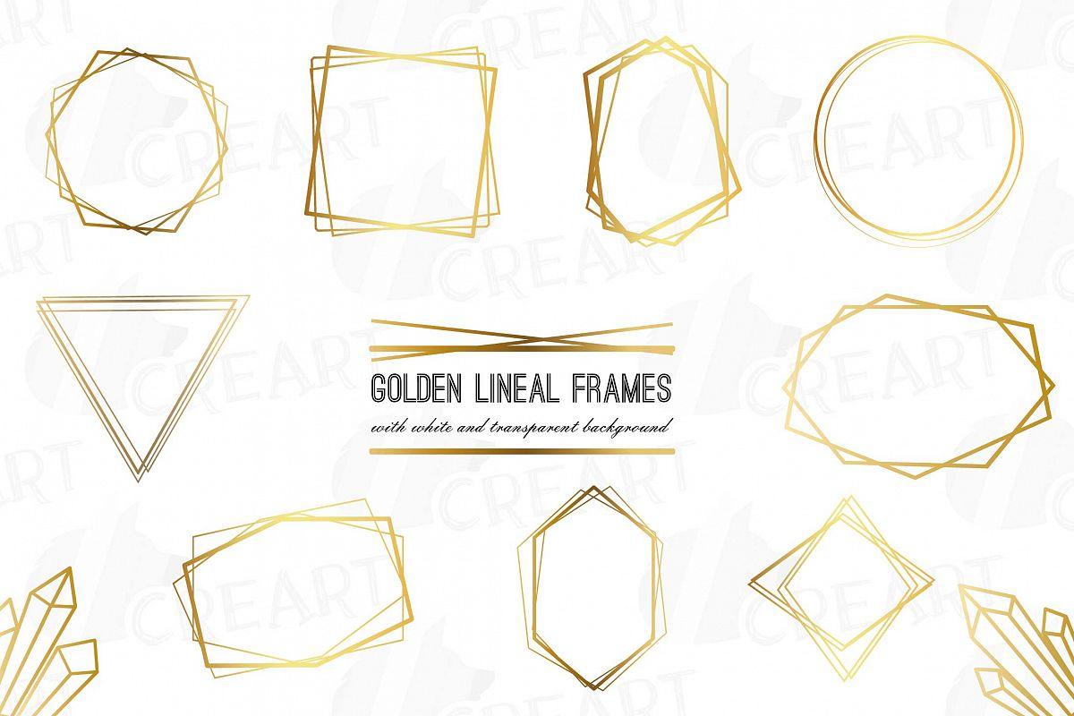 Elegant wedding geometric golden frames, lineal frames png.