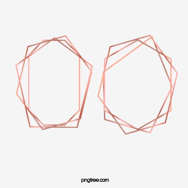 Rose Gold Geometric Polyhedron Frame, Brightness, Geometric.