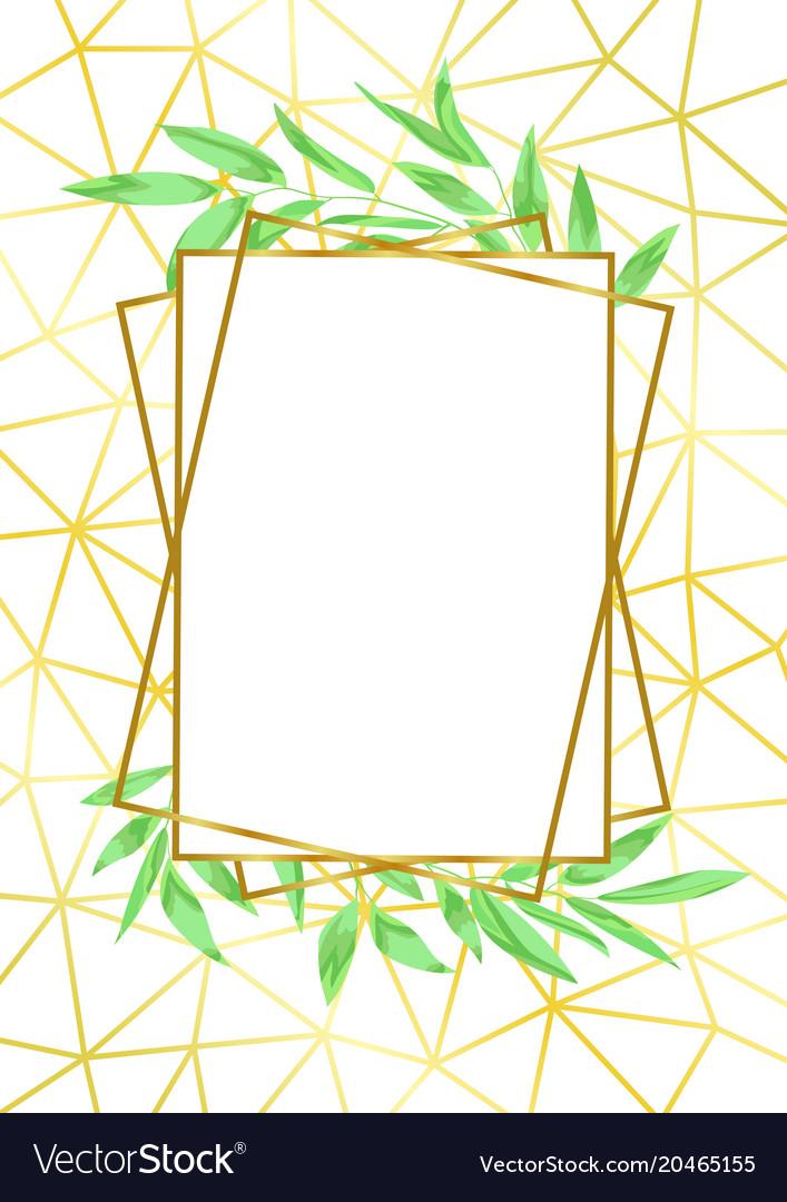 Gold geometric frame and greenery.