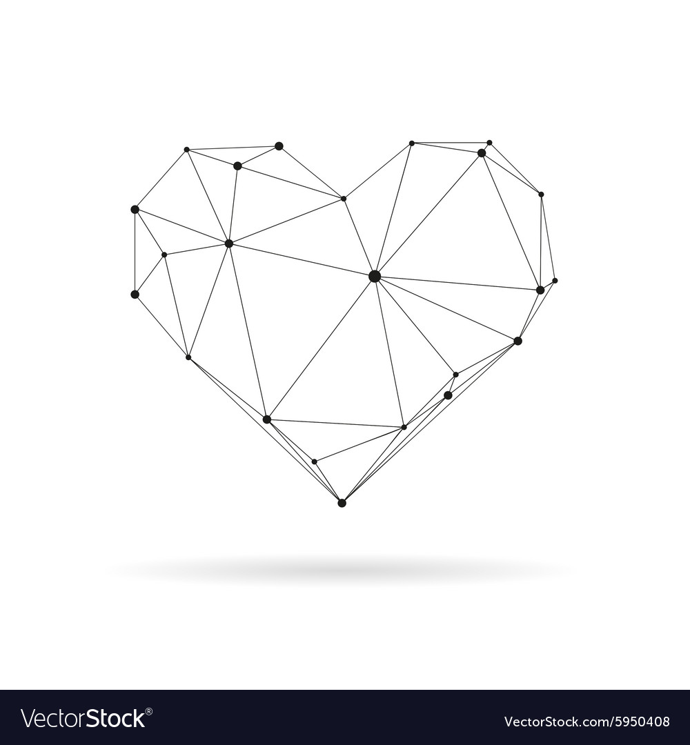 Geometric heart design silhouette.