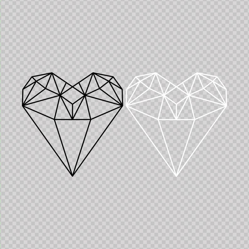Geometric Heart, Line heart, Diamond heart, PNG, Valentines gift, Wall art,  Printable wall art, Wedding gift, Couples gift, Line art, Heart.