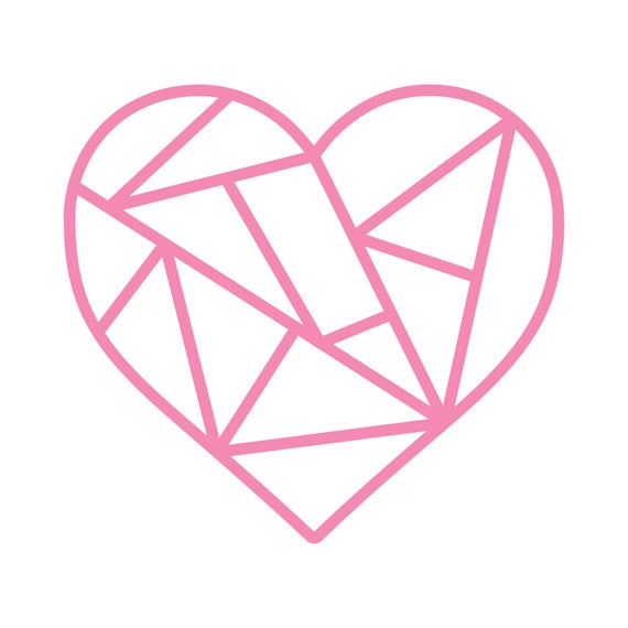 Geometric Heart Cut File .SVG .DXF .PNG.
