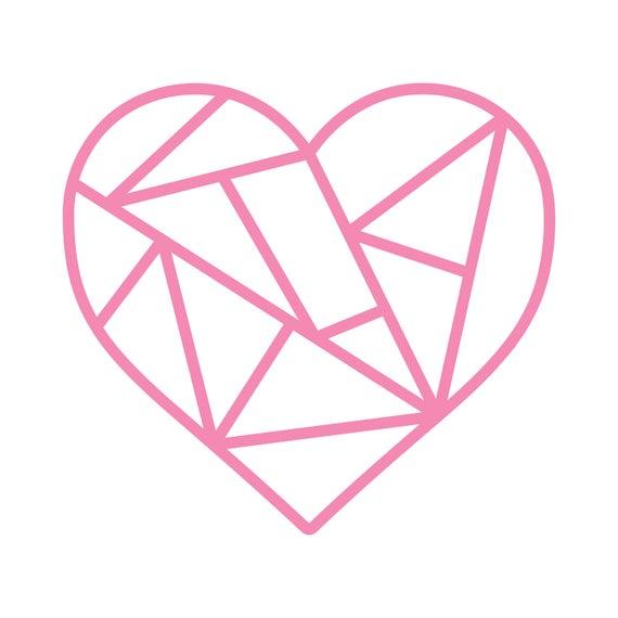 Geometric Heart Cut File .SVG .DXF .PNG.