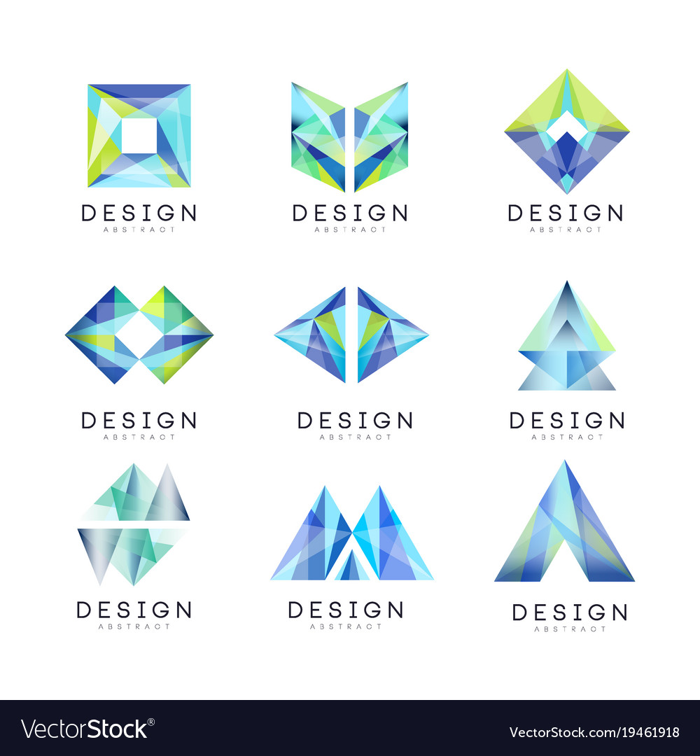 Abstract logo design set gem geometric badge.