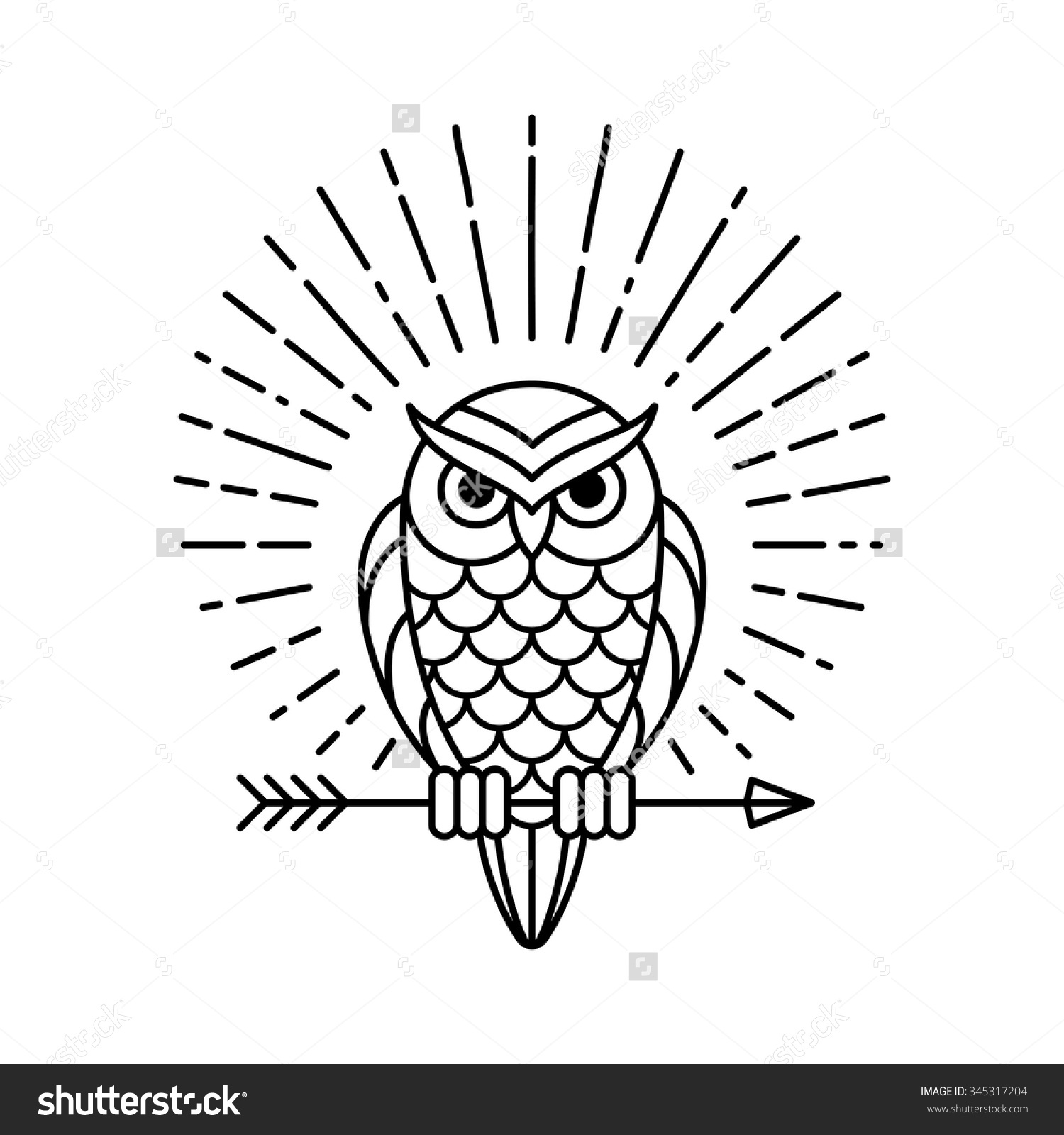 Owl Outline Emblem Geometric Hipster Style Stock Vector 345317204.