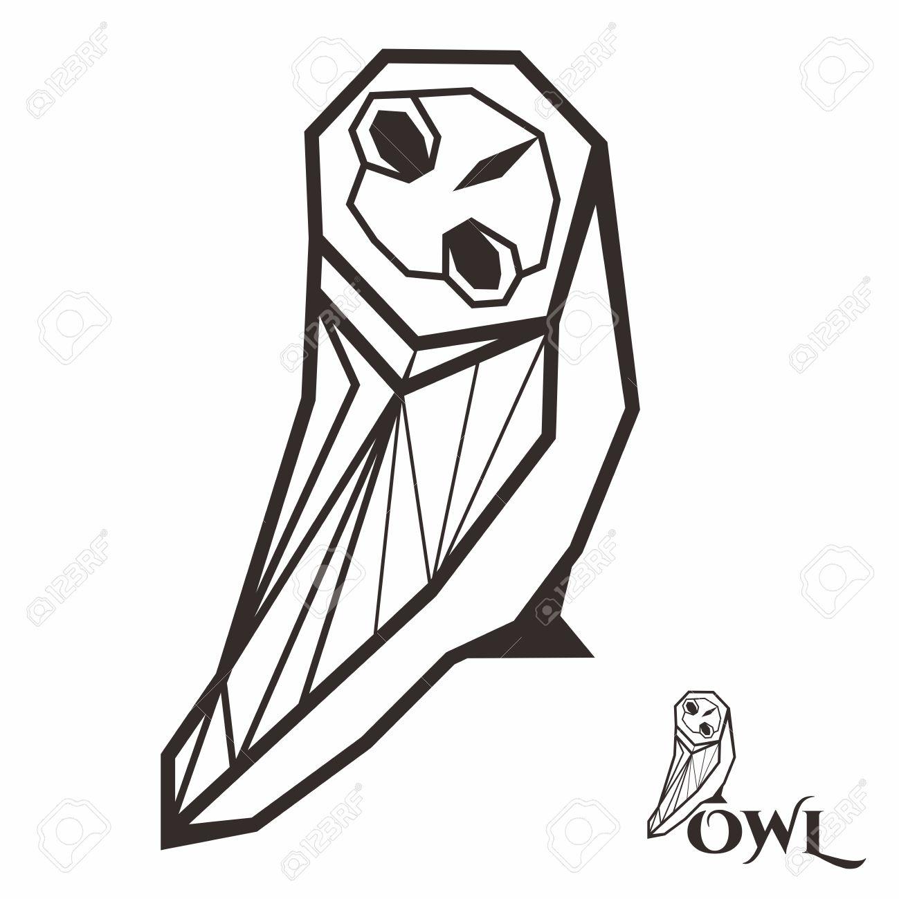 Creative Geometric Owl Illustration, Isolated On White Background.
