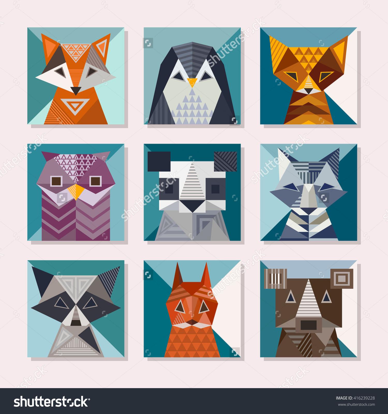 Geometric Animals Set. Cute Cards With Geometric Shapes. Fox.