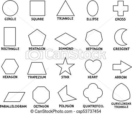 education basic geometric shapes with captions.