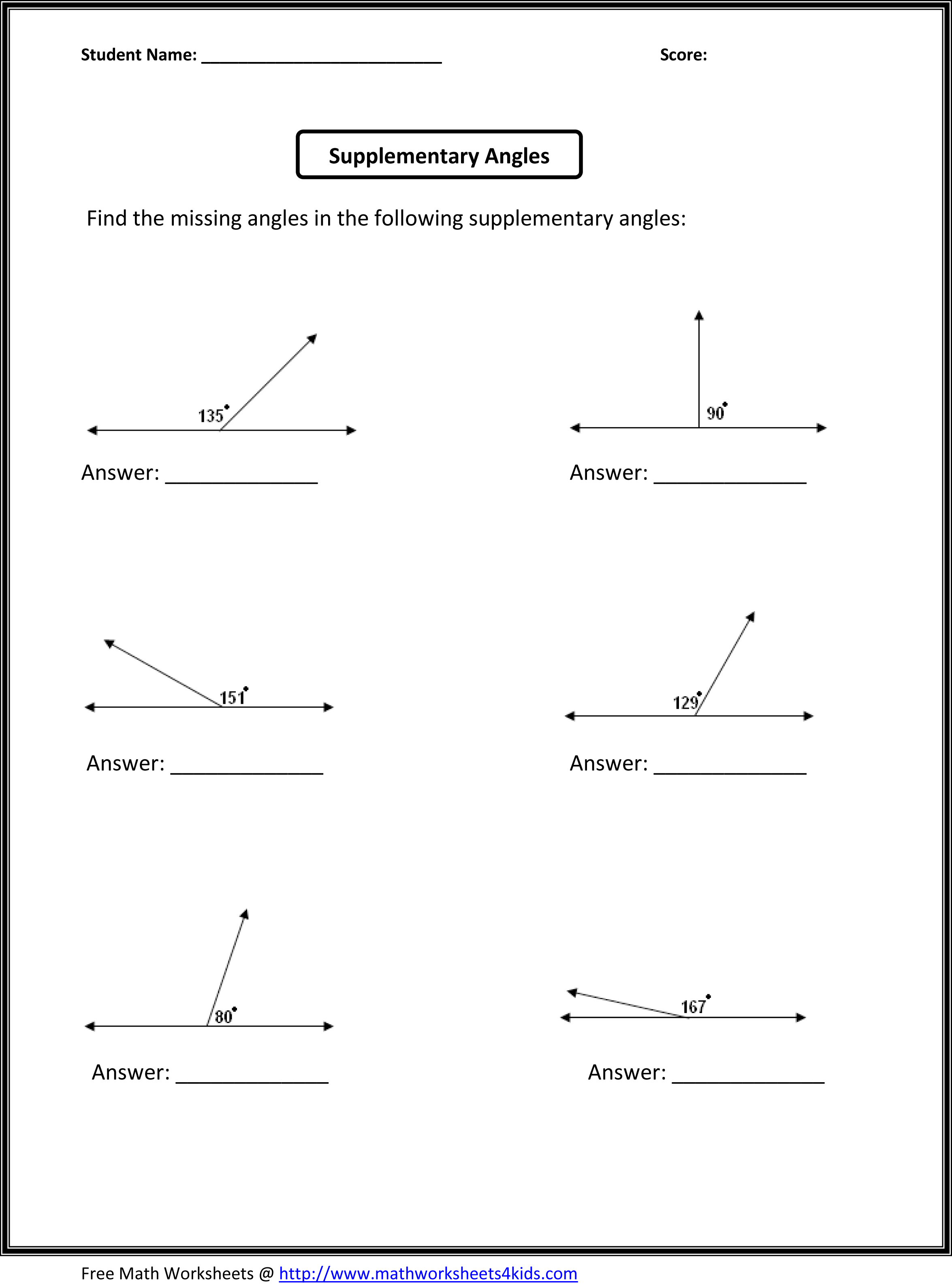 Worksheets Complementary Supplementary Angles Worksheet geometry 8 piece rectangle clipart math clipground supplementary angles
