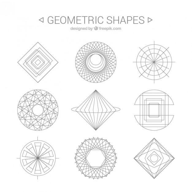Geometric shapes line art Vector.
