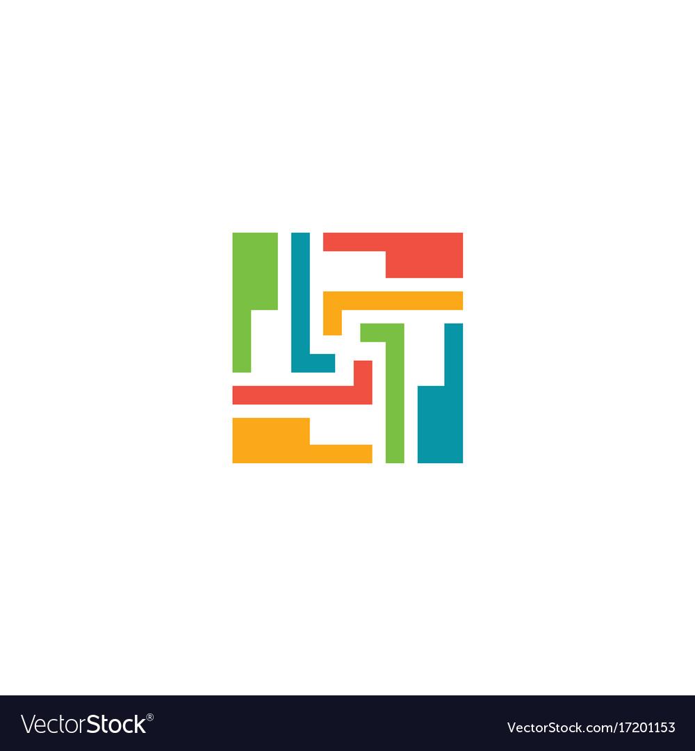 Puzzle circle shape geometry logo.