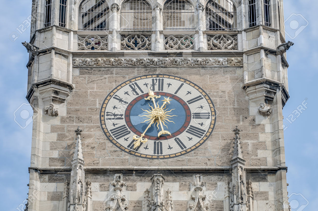 Clock On The Main Tower Of The New Town Hall (Neues Rathaus.